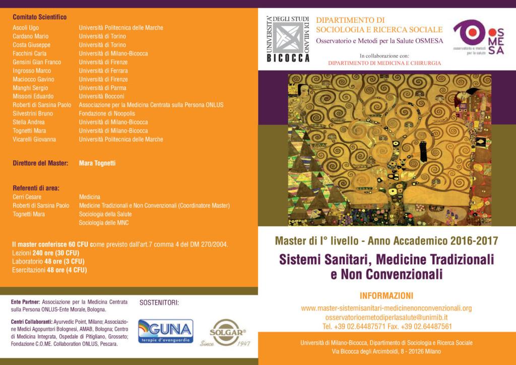 Master_in_Sistemi Sanitari, Medicine Tradizionali e Non Convenzionali_Anno Accademico 2016-17 - Università di Milano-Bicocca 1